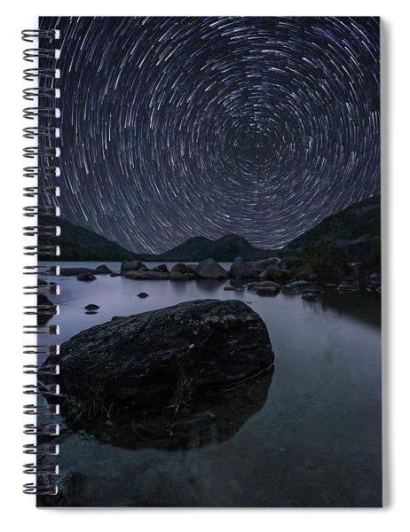 Star Trails Over Jordan Pond Spiral Notebook