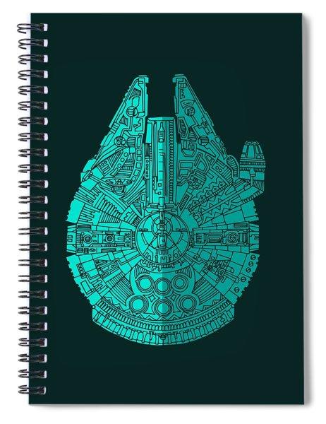 Star Wars Art - Millennium Falcon - Blue 02 Spiral Notebook
