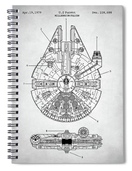Star Wars Millennium Falcon Patent Spiral Notebook