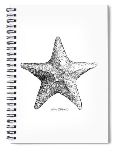 Coastal Starfish Drawing - Black And White Sea Star - Beach Decor - Nautical Art Spiral Notebook