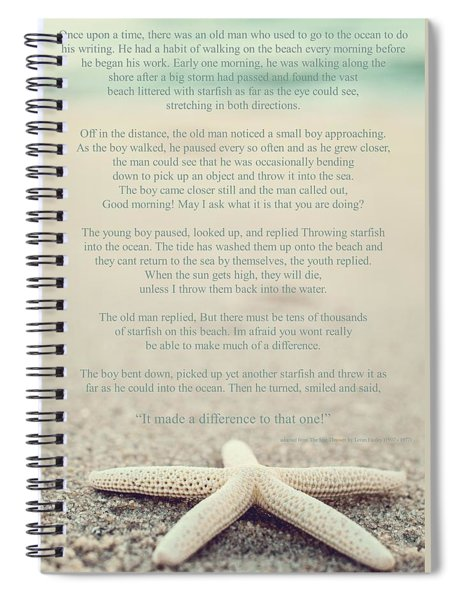 Starfish Make A Difference Vintage Set 1 Spiral Notebook