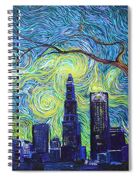 Starry Night Over The Queen City Spiral Notebook