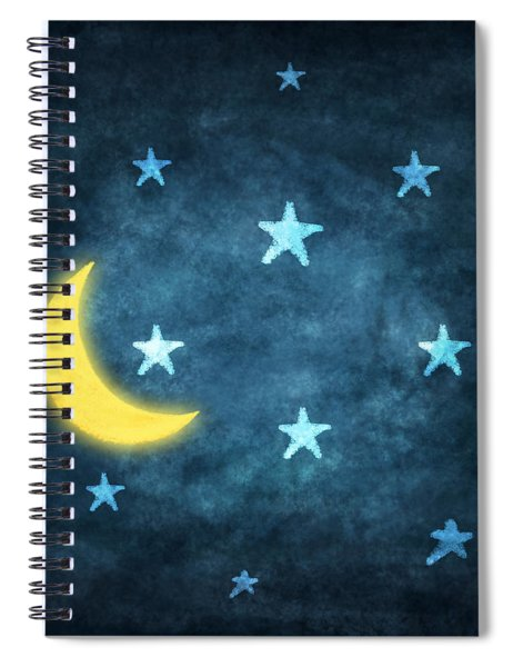 Stars And Moon Drawing With Chalk Spiral Notebook
