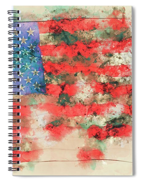 Stars And Stripes Watercolor Spiral Notebook