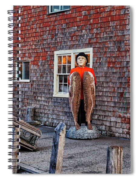 Statue Of Fisherman Holding Cod Peggy's Cove Spiral Notebook