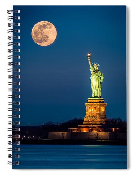 Statue Of Liberty And A Rising Supermoon In New York City Spiral Notebook