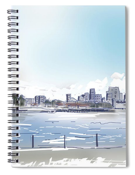 Statue Of Liberty And New York City Illustration  Spiral Notebook