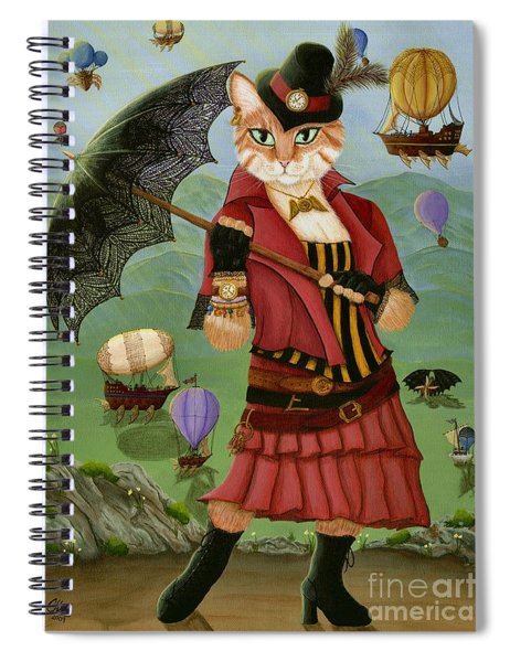 Steampunk Cat Gal - Victorian Cat Spiral Notebook