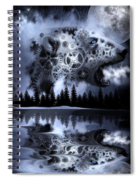 Steampunk Polar Bear Landscape Spiral Notebook