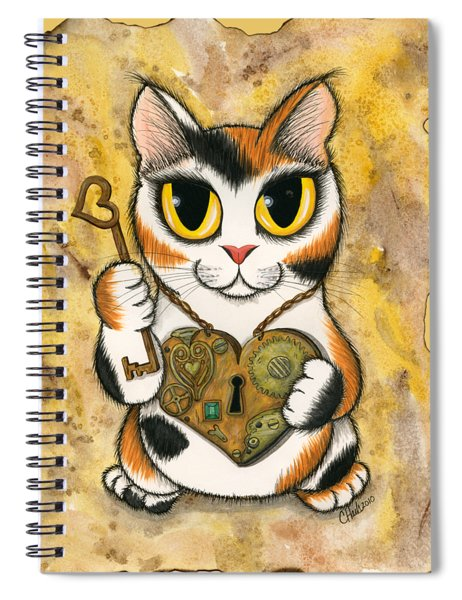 Steampunk Valentine Cat Spiral Notebook