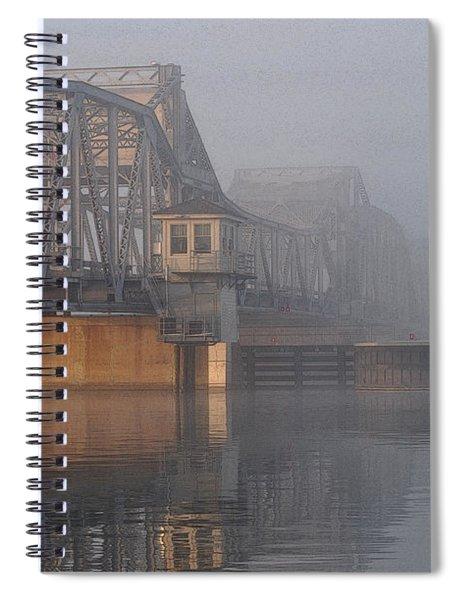 Steel Bridge In Fog Spiral Notebook