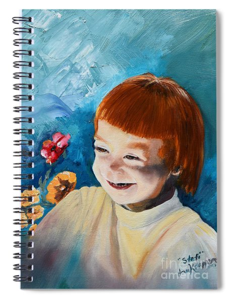 Spiral Notebook featuring the painting Stefi- My Trip To Holland - Red Headed Angel by Jan Dappen