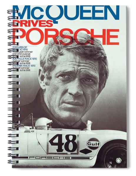 Steve Mcqueen Drives Porsche Spiral Notebook