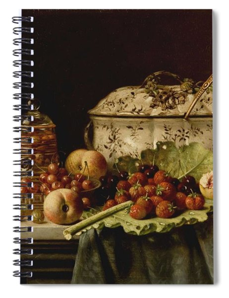Still Life  Fruit And Dishes  Late 19th Century Oil On Panel Gottfried Schultz  German  1842  1919 Spiral Notebook