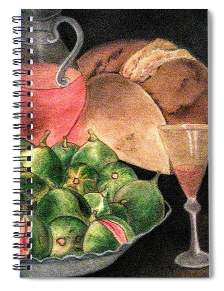 Still Life Of Figs, Wine, Bread And Books Spiral Notebook