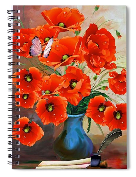Still Life Poppies Spiral Notebook