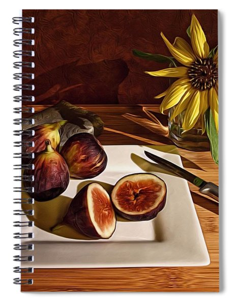 Still Life With Flower And Figs Spiral Notebook