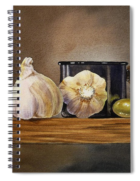 Still Life With Garlic And Olive Spiral Notebook