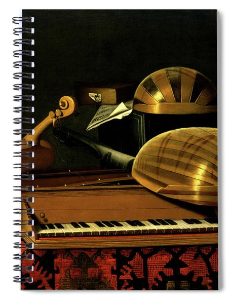 Still Life With Musical Instruments And Books Spiral Notebook