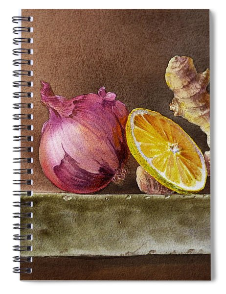 Still Life With Onion Lemon And Ginger Spiral Notebook