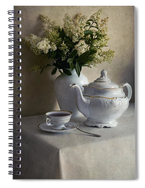 Still Life With White Tea Set And Bouquet Of White Flowers Spiral Notebook