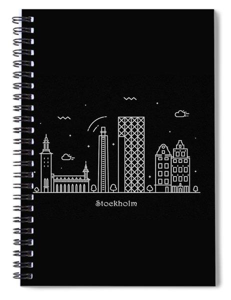 Stockholm Skyline Travel Poster Spiral Notebook