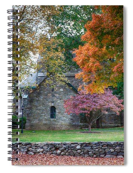 Stone Church In Pomfret Ct In Autumn Spiral Notebook