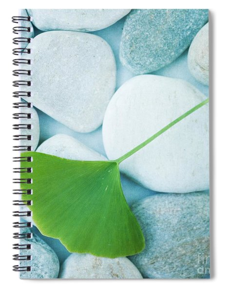 Stones And A Gingko Leaf Spiral Notebook by Priska Wettstein
