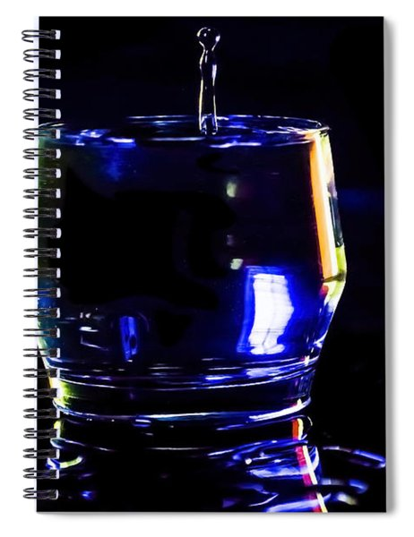 Stop Action Water Drop In Blue/yellow Light Spiral Notebook