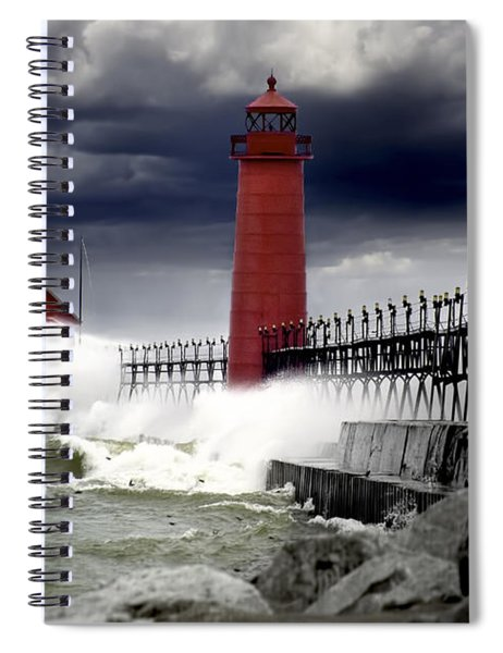 Storm At The Grand Haven Lighthouse Spiral Notebook