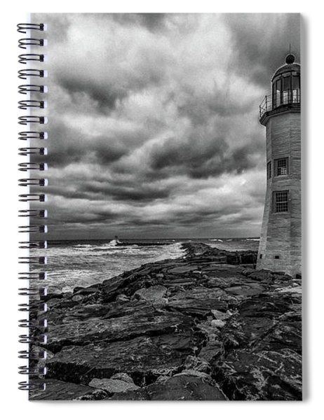Storm Clouds Over Old Scituate Lighthouse In Black And White Spiral Notebook
