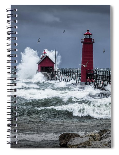 Storm On Lake Michigan By The Grand Haven Lighthouse With Flying Gulls Spiral Notebook