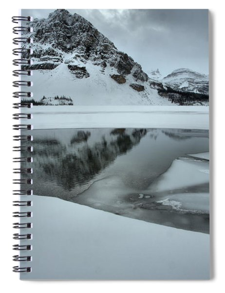 Stormy Crowfoot Mountain Reflctions In Bow Lake Spiral Notebook