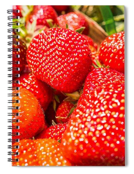 Strawberries In Natural Background Spiral Notebook by Alex Grichenko