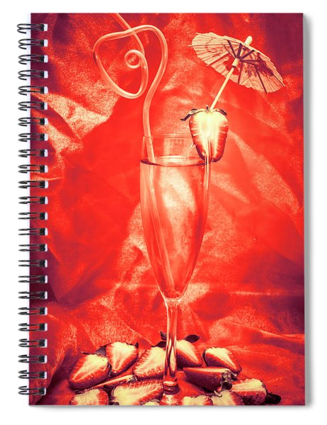 Straweberry Tropical Cocktail Drink Spiral Notebook