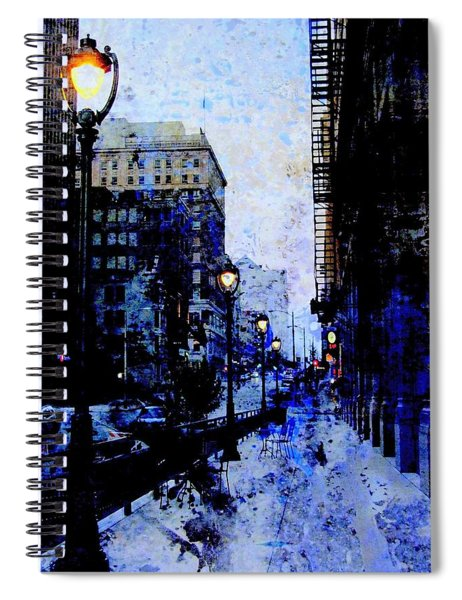 Street Lamps Sidewalk Abstract Spiral Notebook
