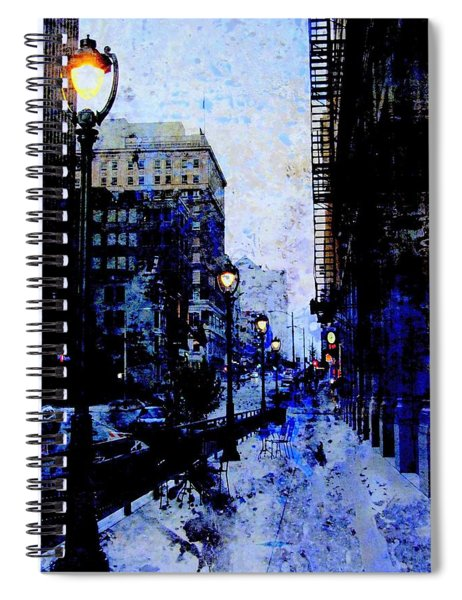 Street Lamps Sidewalk Abstract Spiral Notebook