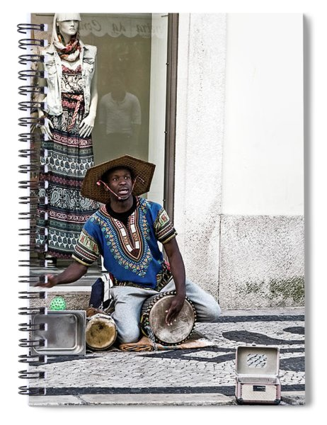 Street Music, Lisboa Spiral Notebook by Lorraine Devon Wilke