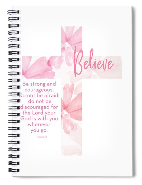 Strong And Courageous Cross- Art By Linda Woods Spiral Notebook