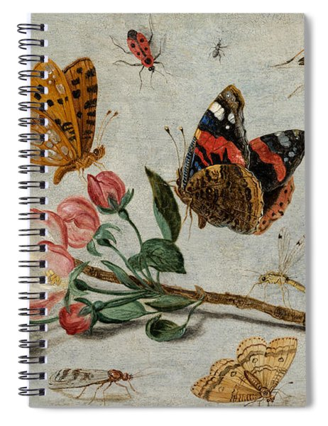 Study Of Butterflies And Other Insects With A Sprig Of Apple Blossom Spiral Notebook