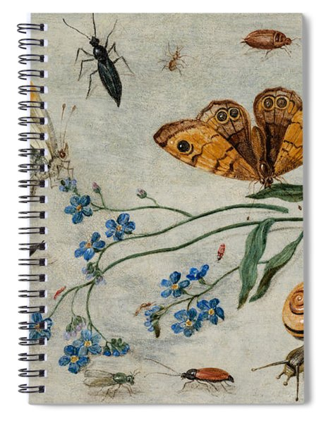 Study Of Insects, Butterflies And A Snail With A Sprig Of Forget-me-nots Spiral Notebook