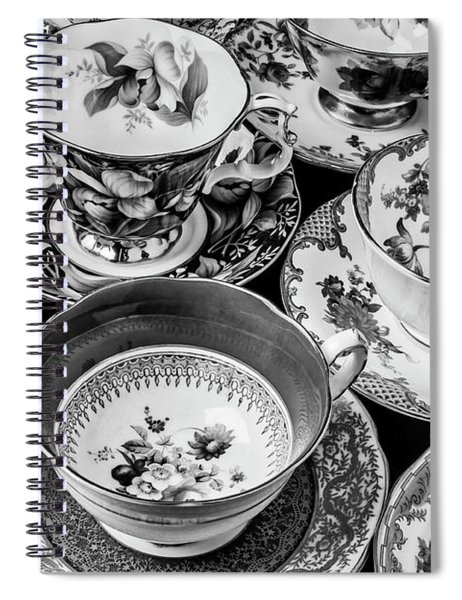 Stunning Tea Cups In Black And White Spiral Notebook