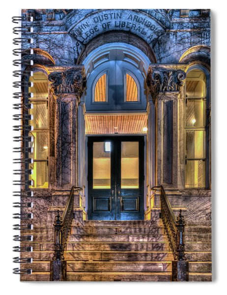 Spiral Notebook featuring the photograph Su Hall Of Languages Doors by Rod Best