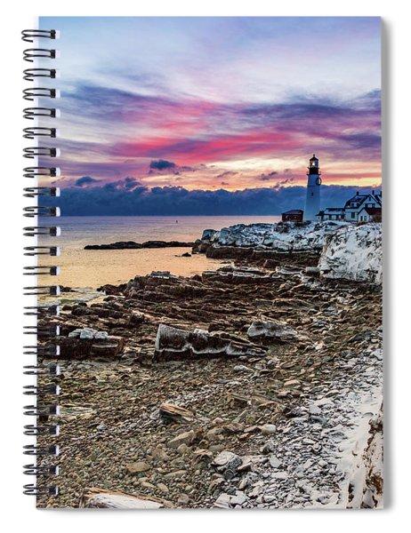 Subtle Sunrise At Portland Head Light Spiral Notebook