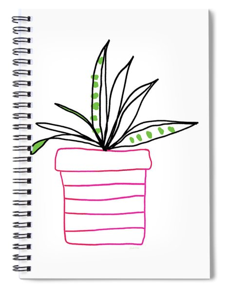 Succulent In A Pink Pot- Art By Linda Woods Spiral Notebook