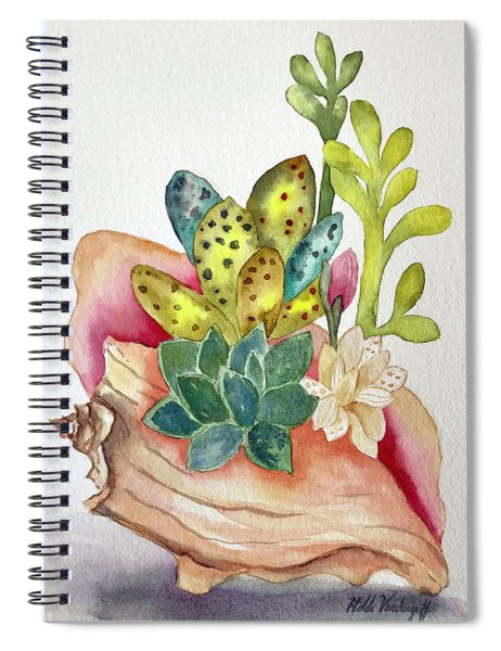 Succulents In Shell Spiral Notebook