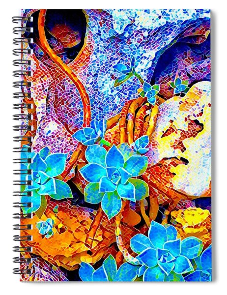 Succulents On River Rock Spiral Notebook