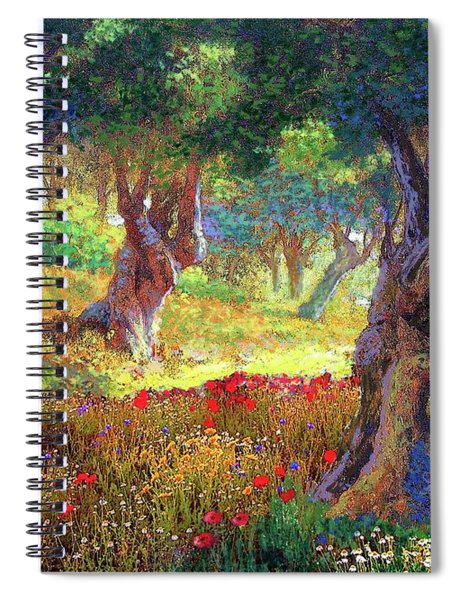 Tranquil Grove Of Poppies And Olive Trees Spiral Notebook
