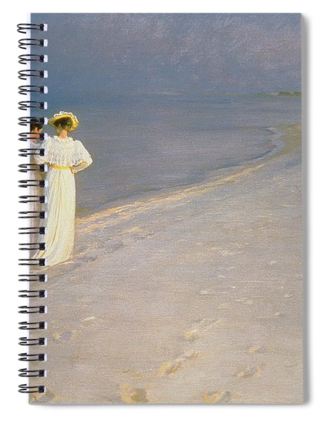 Summer Evening On The Skagen Southern Beach With Anna Ancher And Marie Kroyer Spiral Notebook
