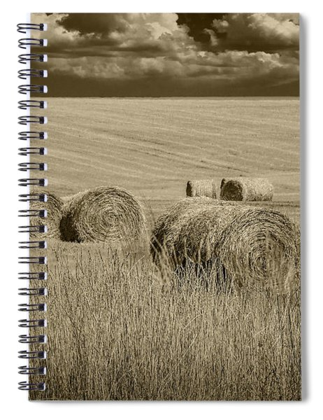 Summer Harvest Field With Hay Bales In Sepia Spiral Notebook